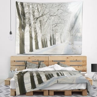 Designart 'Winter Rural Road at Sunrise' Forest Wall Tapestry