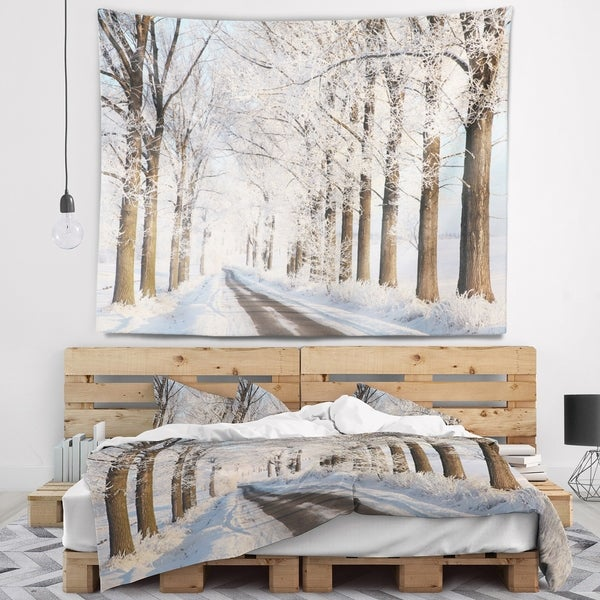 Designart 'Beautiful Winter Lane at Morning' Forest Wall Tapestry