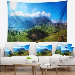 Designart 'Mountain Landscape Panorama' Landscape Wall Tapestry