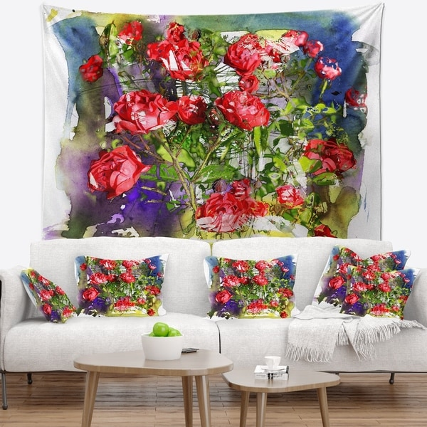 Designart 'Red Roses Bunch Watercolor' Floral Wall Tapestry