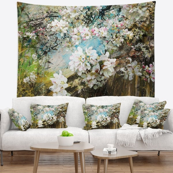 Designart 'Apple Blossoms With White Flowers' Floral Wall Tapestry