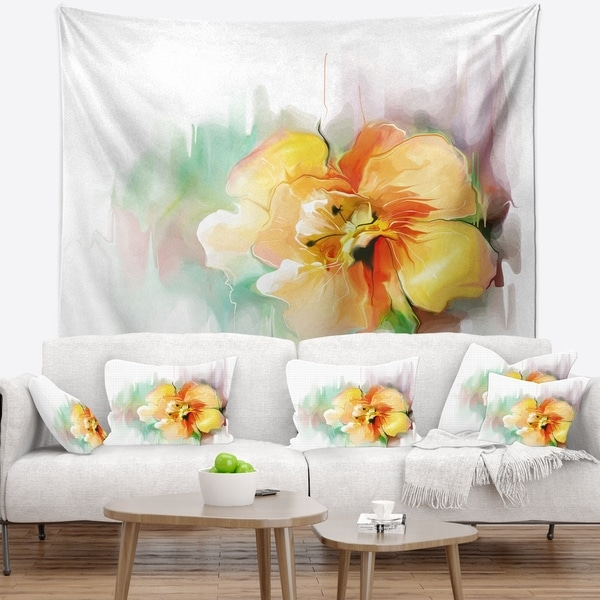 Designart 'Beautiful Yellow Flower Drawing' Floral Wall Tapestry