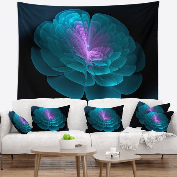 Designart 'Abstract Blue Floral Fractal Background' Floral Wall Tapestry