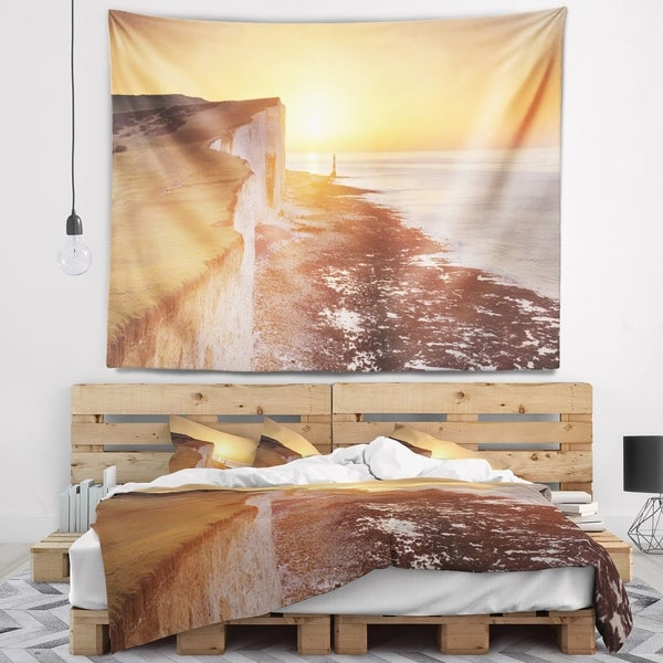 Designart 'Sunrise over South Coast of England' Modern Seashore Wall Tapestry