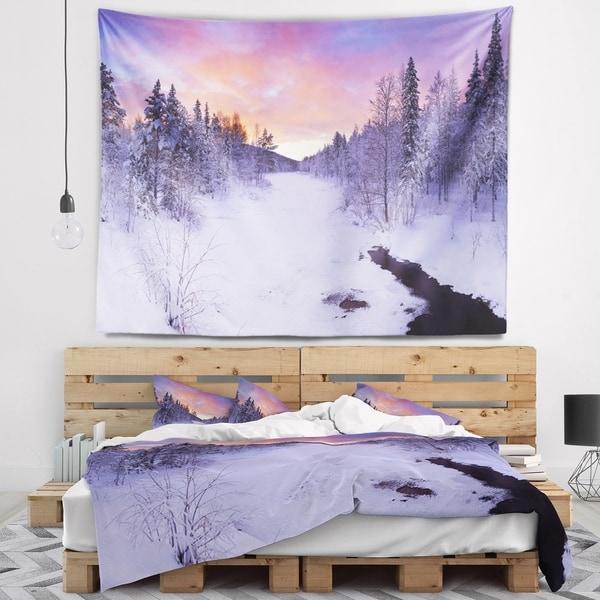 Designart 'Winter River in Finnish Lapland' Modern Landscape Wall Tapestry