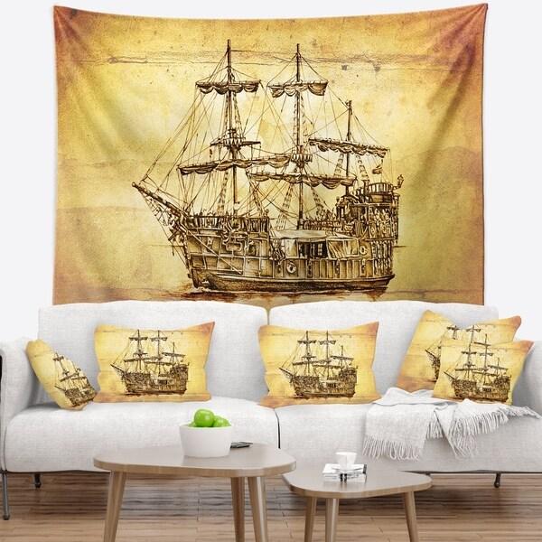 Designart 'Brown Ancient Moving Boat' Seashore Wall Wall Tapestry