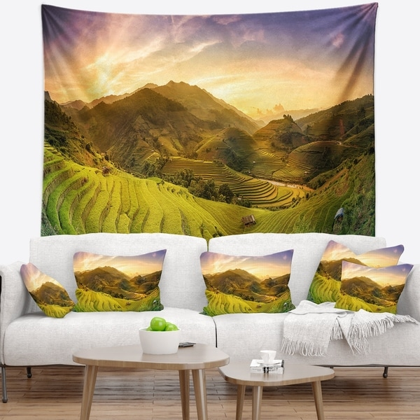 Designart 'Rice Fields on Terraced Panorama' Landscape Wall Tapestry