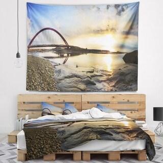 Designart 'Bridge Sunset Panorama' Seashore Wall Wall Tapestry