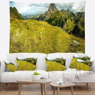 Designart 'Bright Green Mountain Panorama' Landscape Wall Tapestry
