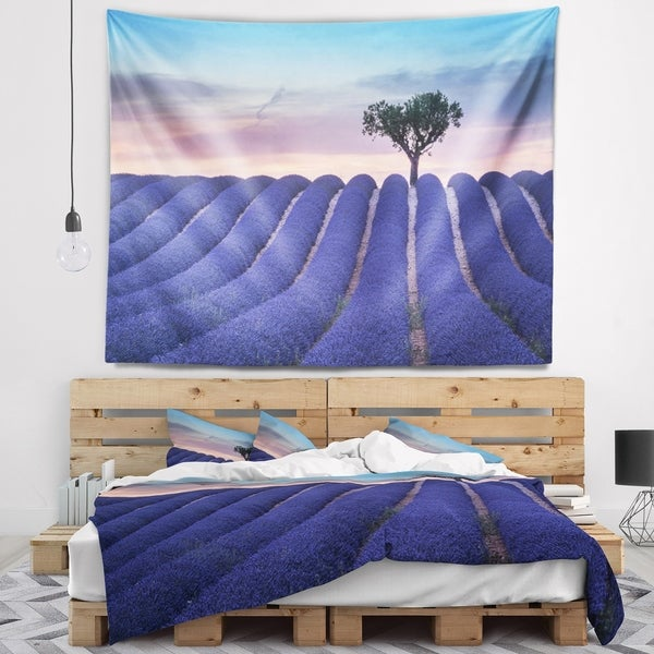 Designart 'Lonely Trees Uphill on Sunset' Landscape Wall Tapestry