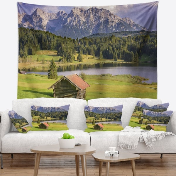 Designart 'Bavaria with Mountains and Lake' Landscape Wall Tapestry