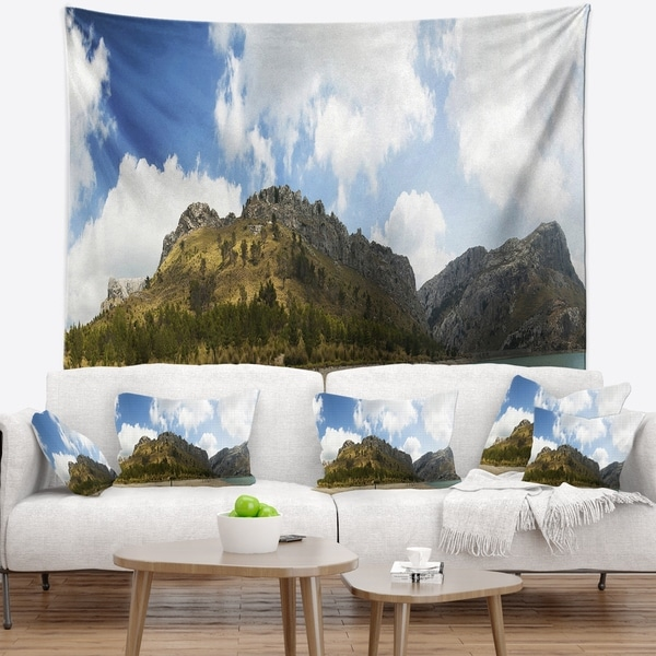 Designart 'Lake and Clouds Panorama' Landscape Wall Tapestry