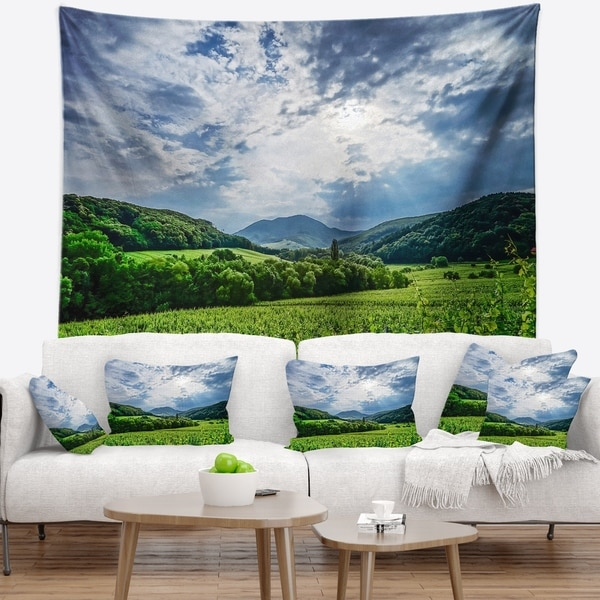 Designart 'Thunderstorm Weather over Vineyards' Landscape Wall Tapestry