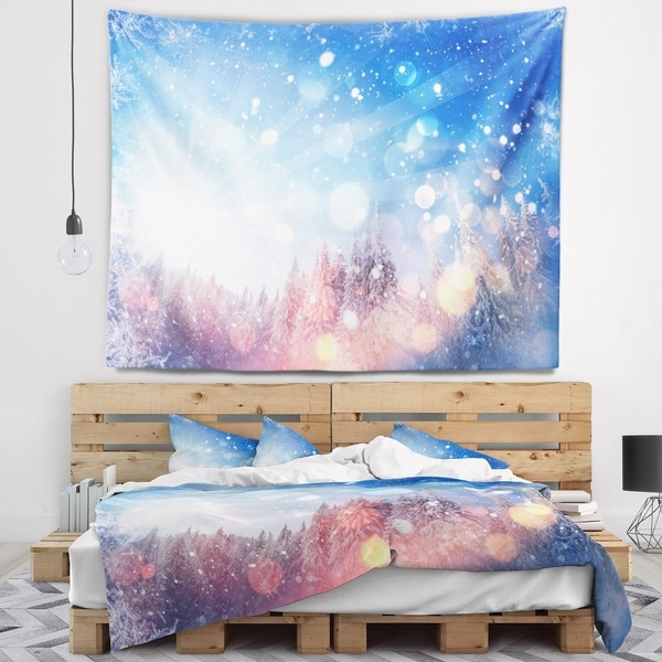 Designart 'Winter Trees Snowbound' Landscape Wall Tapestry