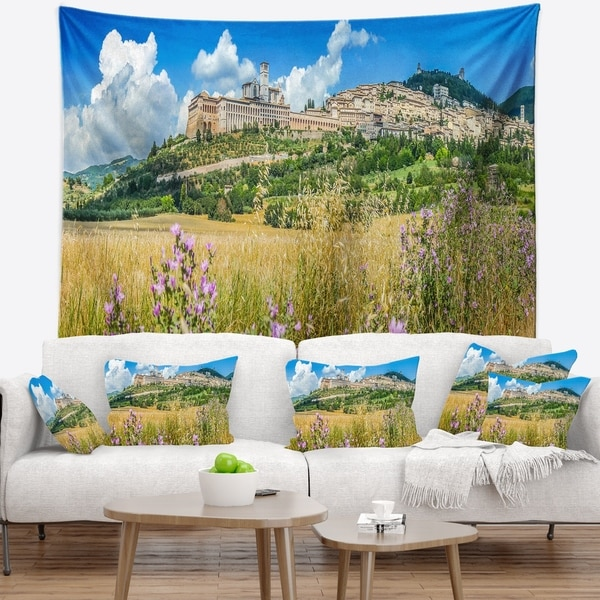 Designart 'Ancient Town of Assisi Panorama' Landscape Wall Tapestry