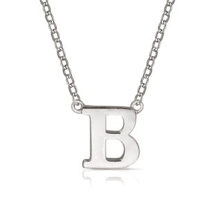 """Curata Solid 14k White Gold Delicate Trendy Polished Block Initial Pendant Necklace (16"""" chain attached) (6mm long)"""