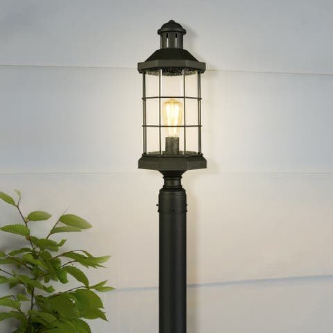 Eglo San Mateo Creek Outdoor Post Light with Matte Black Finish and Clear Seeded Glass