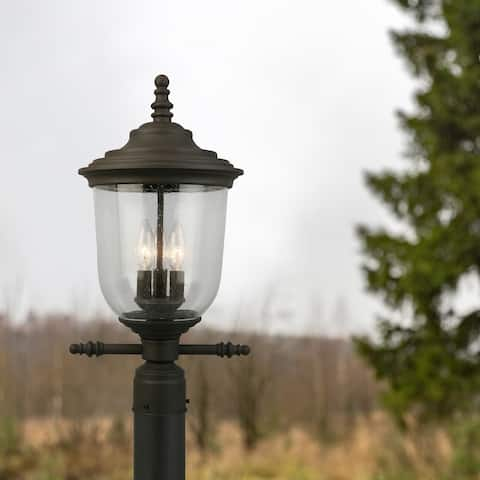 Eglo Pinedale Matte Bronze Outdoor Post Light with Clear Seeded Glass