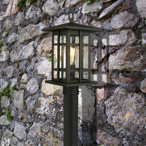 Eglo Arlington Creek Matte Bronze Outdoor Post Light with Clear Seeded Glass