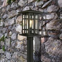 Eglo Arlington Creek Outdoor Post Light with Matte Bronze Finish and Clear Seeded Glass
