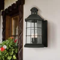 Eglo San Mateo Creek 3-Light Outdoor Wall Light with Matte Black Finish and Clear Seeded Glass