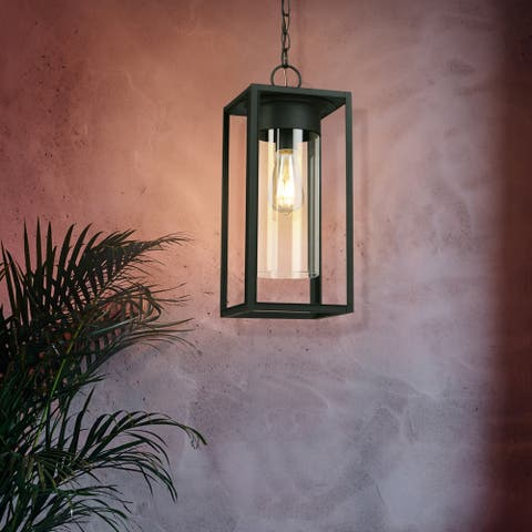 Eglo Walker Hill 18-inch Matte Black Outdoor Pendant with Clear Glass