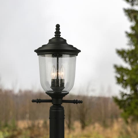 Eglo Pinedale Matte Black Outdoor Post Light Clear Seeded Glass