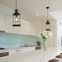 Eglo San Mateo Creek Outdoor Pendant with Matte Black Finish and Clear Seeded Glass