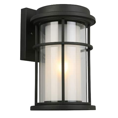 Eglo Helendale Outdoor Wall Light with a Matte Black Finish and Frosted Inner Glass surrounded by a Clear Outer Glass