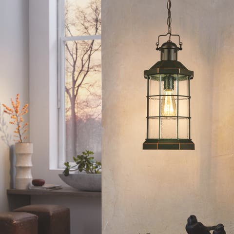 Eglo San Mateo Creek Outdoor Pendant with Oil Rubbed Bronze Finish and Clear Seeded Glass