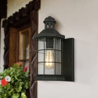 Eglo San Mateo Creek 13.25-inch, 1-Light Outdoor Wall Light with Matte Black Finish and Clear Seeded Glass