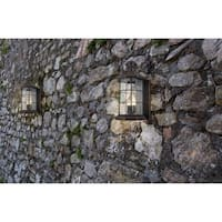 Eglo San Mateo Creek 3-Light Outdoor Wall Light with Oil Rubbed Bronze Finish and Clear Seeded Glass
