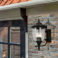 Eglo Pinedale 17.50 inch Outdoor Wall Light with Matte Black Finish and Clear Seeded Glass