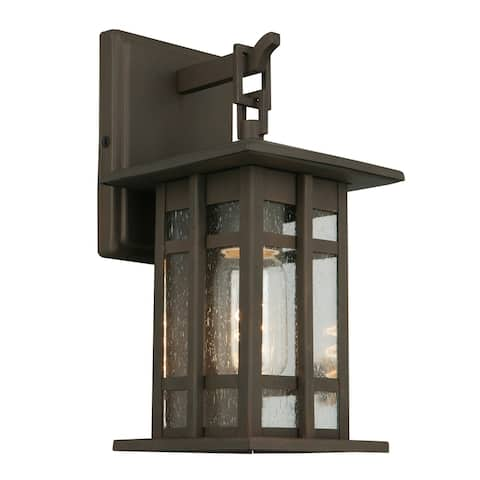 Eglo Arlington Creek Bronze Outdoor Wall Light with Clear Seeded Glass
