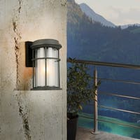 Eglo Helendale Outdoor Wall Light with a Zinc Finish and Frosted Inner Glass surrounded by a Clear Outer Glass