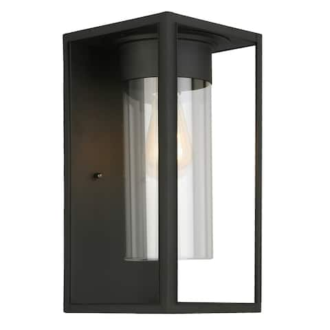 Eglo Walker Hill Outdoor Wall Light with Matte Black Finish and Clear Glass