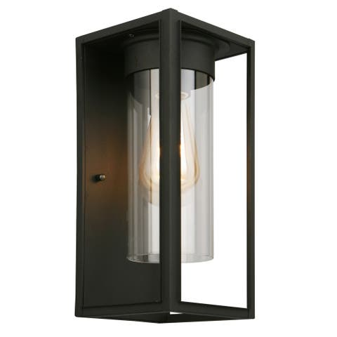 Eglo Walker Hill Matte Black Outdoor Wall Light with Clear Glass