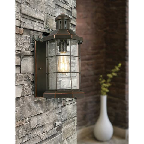 Eglo San Mateo Creek 16-inch, 1-Light Outdoor Wall Light with Oil Rubbed Bronze Finish and Clear Seeded Glass