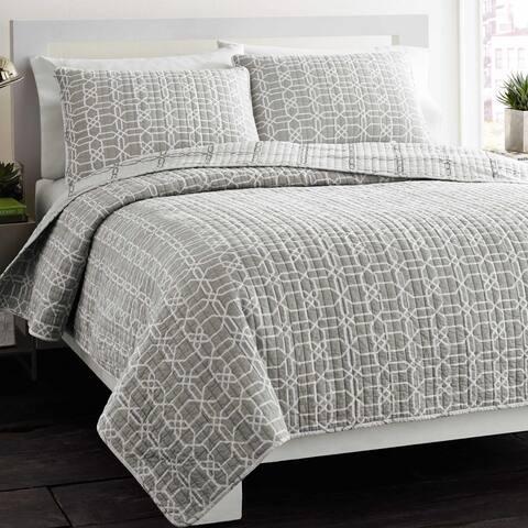 Carson Carrington Harstad Puzzle Grey Reversible 3-piece Cotton Quilt Set