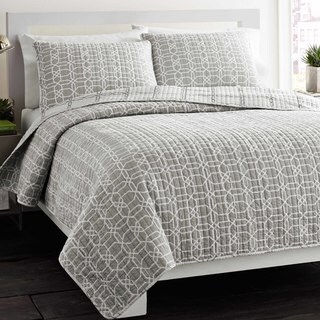 Carson Carrington Harstad Puzzle Grey Reversible 3-piece Cotton Quilt Set