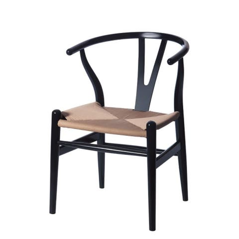 "Mod Made Hemp/ Wood Mid-century Modern ""W"" Wood Dining Side Chair"