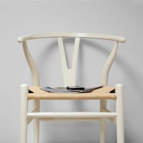 "Mod Made Mid Century Modern ""W"" Wood Dining Side Chair with Hemp Seat"