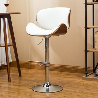 Carson Carrington Sauoarkrokur Modern Adjustable Swivel Barstool (Option: White - Chrome Finish)