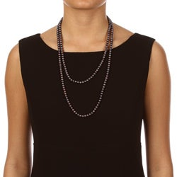 DaVonna Cultured FW Black Pearl 52-inch Endless Necklace (6.5-7mm) - Thumbnail 2
