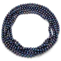 DaVonna Cultured FW Black Pearl 100-inch Endless Necklace (6-6.5 mm)