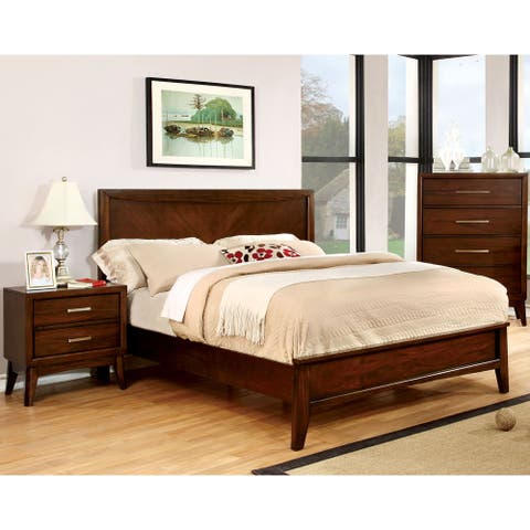 Furniture of America Kasten Modern 2-piece Brown Cherry Bedroom Set
