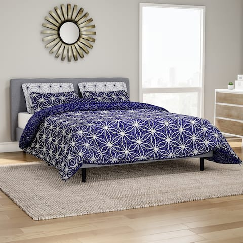 Carson Carrington Bergen Dark Blue Cobalt Printed Microfiber 7-piece Quilt Set