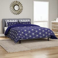 Carson Carrington Bergen Dark Blue Cobalt Printed Microfibe