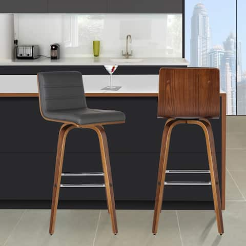 Carson Carrington Skara 30-inch Swivel Counter Height Barstool in Walnut Wood Finish with PU Upholstery (Color Options)