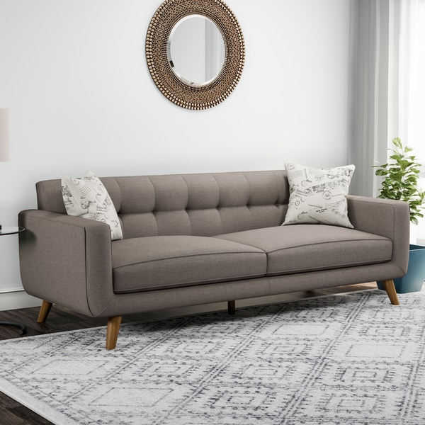 Carson Carrington Nesbyen Brown Sofa With 2 Accent Pillows by Carson Carrington
